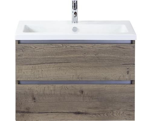 Ensemble de meubles de salle de bains Vogue 80 cm avec vasque en céramique Tabacco