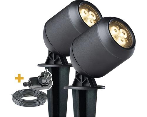 Lot de 2 spots LED IP44 acier inoxydable 2x1,5W 2x150 lm 3000 K blanc chaud hxØ 100x63 mm noir