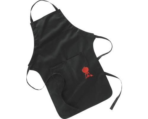 Tablier spécial barbecue Weber noir avec barbecue rouge 100% coton lavable