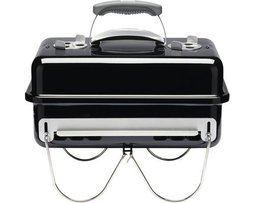 Barbecue à charbon Weber Go Anywhere 53 x 31 cm noir foyer/couvercle acier émaillé avec ventilateur alu, poignée à protection thermique, pieds rabattables acier chromés, grille de cuisson en acier revêtu, grille à charbon