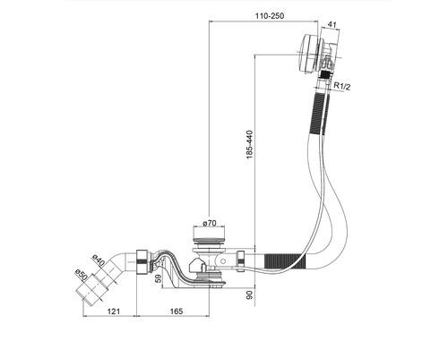 Robinetterie d''évacuation et de trop-plein de luxe avec fonction d''arrivée d''eau et activation excentrique rotative chromée