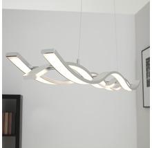 Suspension à LED à intensité lumineuse variable 3x15W 1200lm 3000K blanc chaud Coude coloris aluminium hxl 1200x1200mm-thumb-0