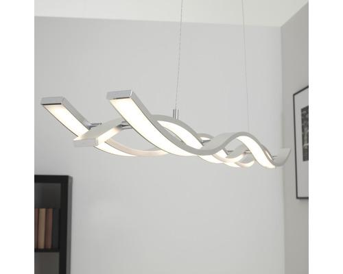 Suspension à LED à intensité lumineuse variable 3x15W 1200lm 3000K blanc chaud Coude coloris aluminium hxl 1200x1200mm-0