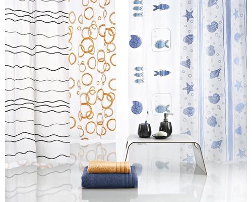 Rideau de douche Kleine Wolke Promo 180 x 200 cm, 12 anneaux compris, choix de couleurs et de motifs aléatoires