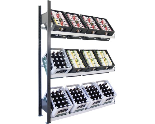 Support pour caisses à bouteilles, étagère d''extension pour caisses de boissons Schulte 1800x1300x300 mm