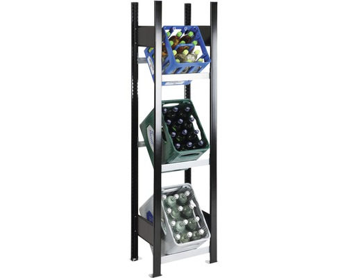 Support pour caisses à bouteilles, étagère de base pour caisses de boissons Schulte 1800x400x300 mm