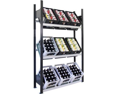 Support pour caisses à bouteilles, étagère de base pour caisses de boissons Schulte 1800x1000x300 mm
