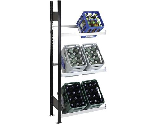 Support pour caisses à bouteilles, étagère complémentaire pour caisses de boissons Schulte 1800x750x300 mm