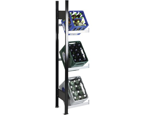 Support pour caisses à bouteilles, étagère complémentaire pour caisses de boissons Schulte 1800x400x300 mm