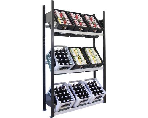 Support pour caisses à bouteilles, étagère de base pour caisses de boissons Schulte 1800x1300x300 mm
