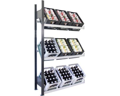 Support pour caisses à bouteilles, étagère complémentaire pour caisses de boissons Schulte 1800x1000x300 mm