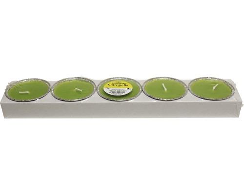 Kit de 5 bougies de fête à la citronnelle vertes