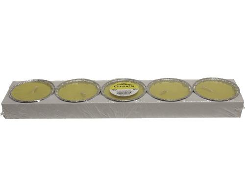Kit de 5 bougies de fête à la citronnelle jaunes