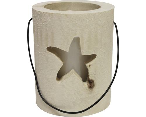 Photophore en bois étoile de mer Ø 13 cm H 15 cm blanc
