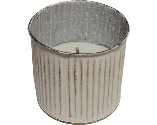 Bougie dans un pot Ø 13 cm H 12 cm blanc
