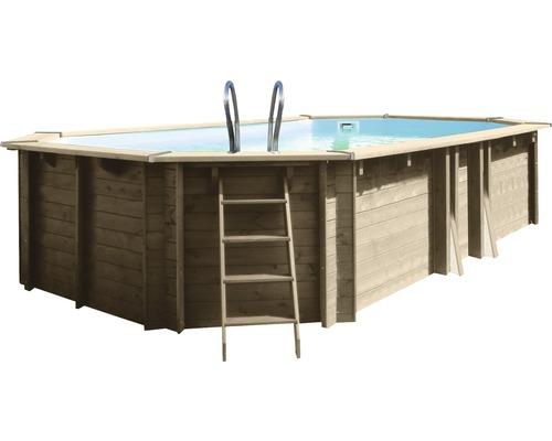 Piscine hors sol ovale, piscine en bois 590 x 365 x 130 cm avec installation de filtre à sable 23000L 23000,0 l bois avec installation de filtre à sable