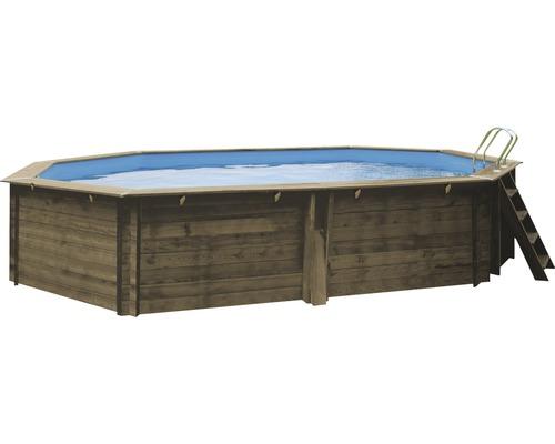 Piscine hors sol ovale, piscine en bois 503 x 303 x 116 cm avec installation de filtre à sable 14500 L 14500,0 l bois avec installation de filtre à sable