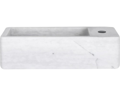 Lave-mains Hura L 40x22cm marbre blanc