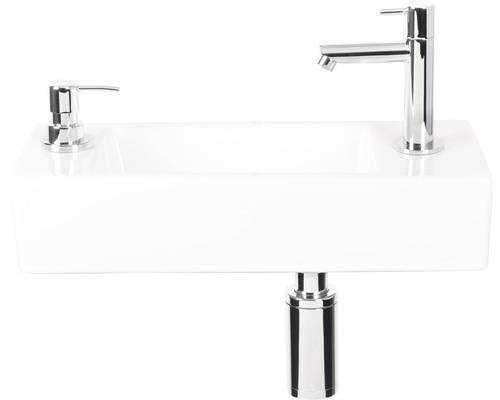 Ensemble lave-mains Sapon40 x 18 cm céramique blanc avec robinet d'eau froide, siphon et distributeur de savon chrome