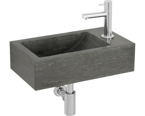 Ensemble lave-mains Tarn 40 x 23 cm pierre naturelle gris avec mitigeur et siphon chrome