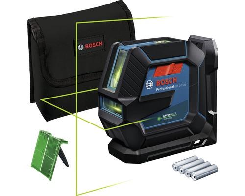 Laser à lignes Bosch Professional GLL 2-15 G avec cible laser et 4 x piles 1,5 V-LR6 (AA)