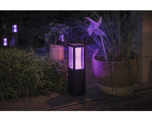 Borne LED Philips hue extension Fuzo White and color ambiance 8W 1200 lm noir h 400 mm - compatible avec SMART HOME by HORNBACH