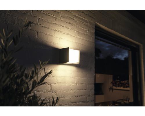 Applique murale LED Philips hue Fuzo White Ambiance 15W 1150 lm 2700 K blanc chaud noir 130x140 mm - compatible avec SMART HOME by HORNBACH