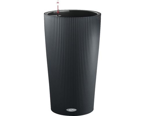 Vase Lechuza Cilindro Color h 56 cm plastique gris avec système d''arrosage en terre, insert pour plantes, substrat et indicateur de niveau d''eau