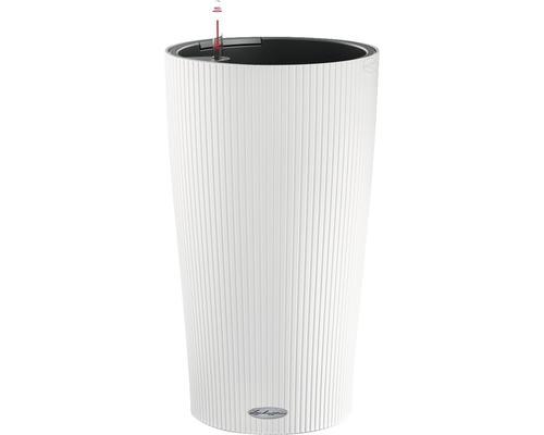 Vase Lechuza Cilindro Color Ø 32 cm h 56 cm plastique blanc avec système d''arrosage en terre, insert pour plantes, substrat et indicateur de niveau d''eau