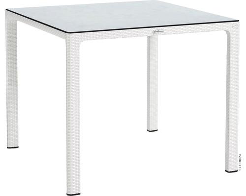 Table de jardin Lechuza en plastique 90 x 90 cm blanc avec plateau de table en HPL