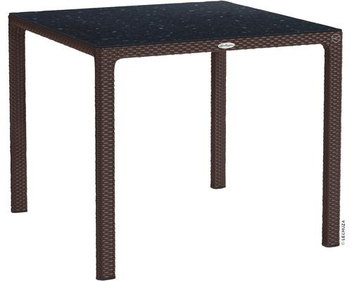 Table de jardin Lechuza en plastique 90 x 90 cm moka avec plateau de table en HPL