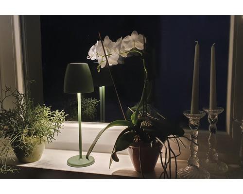 Lampe de table sans fil IP65 2W 200 lm 2700 K blan chaud Tavola olive h 380 mm avec USB + variateur d''intensité tactile