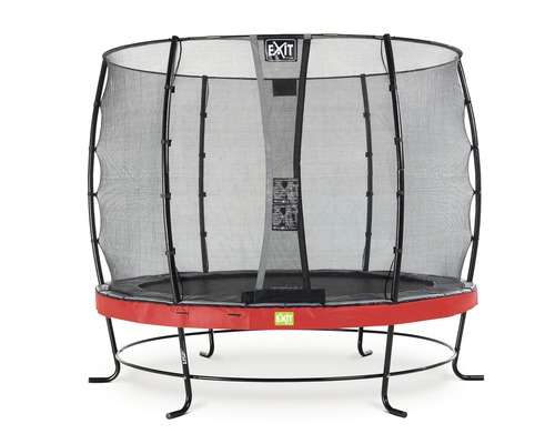 Trampoline EXIT Elegant avec filet de sécurité Economy Ø 253 cm H 180 cm rouge