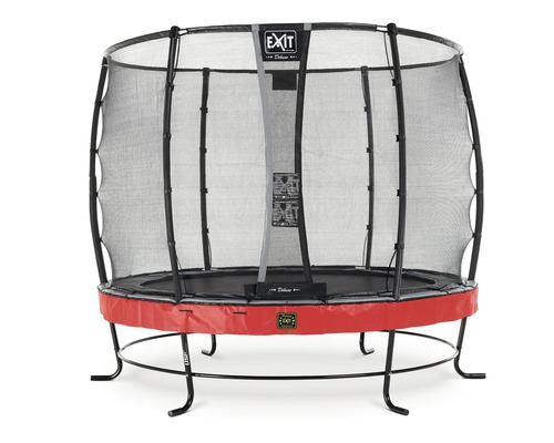Trampoline EXIT Elegant Premium avec filet de sécurité Deluxe Ø 253 cm H 180 cm rouge