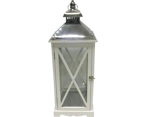 Lanterne Lafiora 24x24x65cm en bois blanche