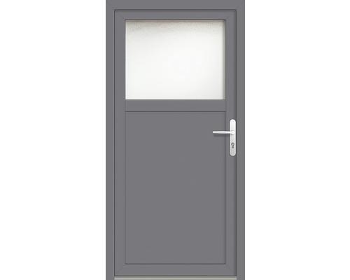 Porte d''entrée secondaire plastique ProM01 98x200 cm blanc/titane tirant droit RC2