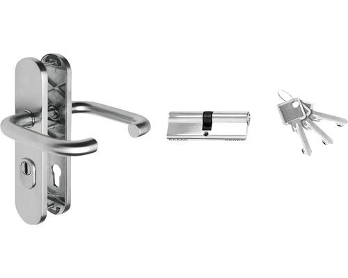 Jeu de poignées en acier inoxydable pour porte d''entrée secondaire RC2 ProM01 + ProM02 avec cylindre profilé 40/40, 3 clés et entrée de serrure protection contre l''arrachement du noyau