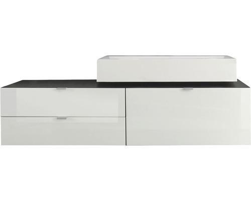 Kit de meubles de salle de bain 140cm avec lavabo blanc haute brillance/anthracite