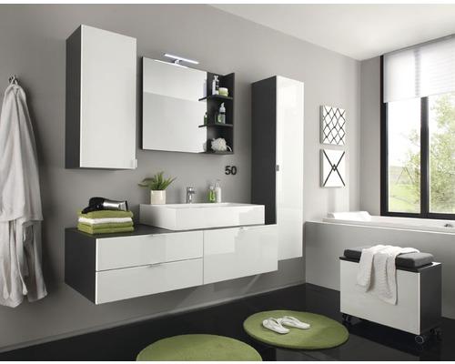 Ensemble de meubles de salle de bain Beach, 4 éléments, 140 cm avec vasque, armoire suspendue et miroir, blanc à haute brillance / anthracite