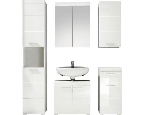 Ensemble de meubles de salle de bains Amanda 5 éléments 163 cm blanc haute brillance