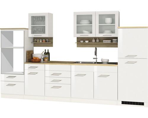 Cuisine complète non équipée Held Möbel Mailand blanc à haute brillance 330 cm sans appareils électriques-0