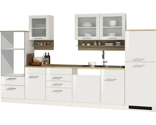 Cuisine complète non équipée Held Möbel Mailand blanc à haute brillance 340 cm sans appareils électriques