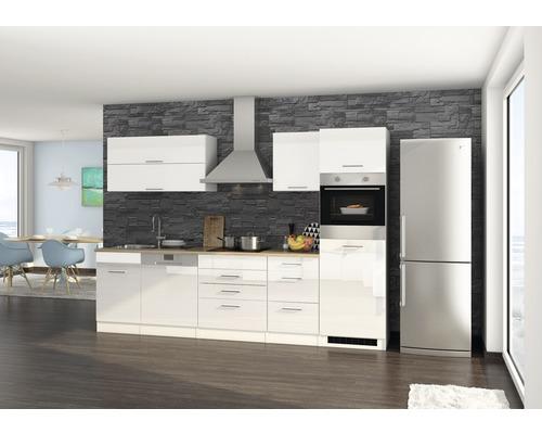 Cuisine complète Held Möbel Mailand blanc haute brillance 300 cm avec électroménager 613.1.6210-0