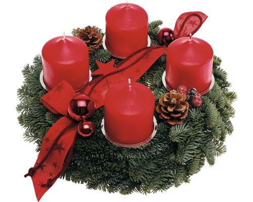 Couronne de l''Avent Nobilistanne Ø 30 cm avec bougies de pilier Ø 7 cm H 8 cm rouge