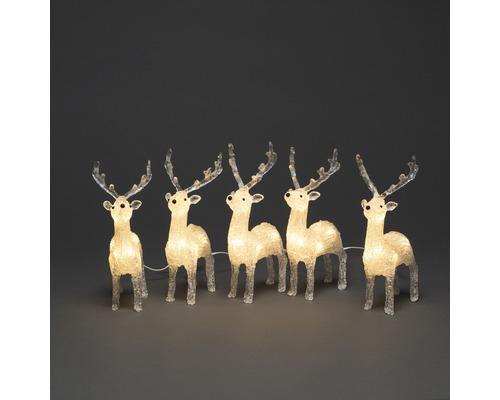 Figurine lumineuse Konstsmide LED acrylique rennes lot de 5 L 4,00 m couleur d''éclairage blanc chaud