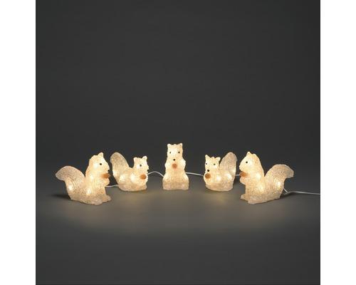 Figurine lumineuse Konstsmide LED acrylique écureuils lot de 5 couleur d''éclairage blanc chaud 40 LED