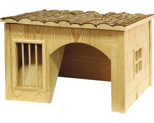 Petite maison pour rongeurs Nature avec rack à foin 54x41x30cm