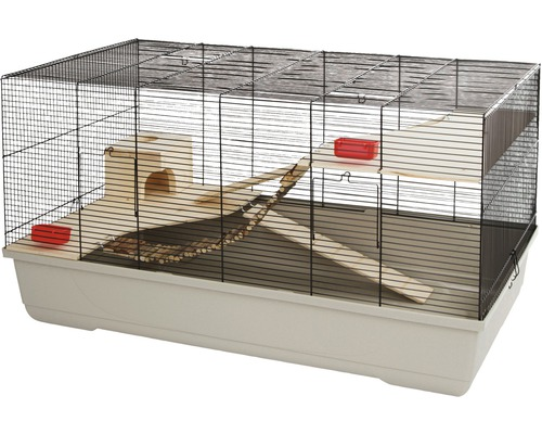 Cage pour petits animaux Gabbia avec maison en bois et 2 gamelles 100x53x55cm taupe