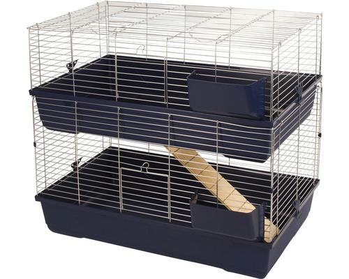 Cage pour rongeurs Maxi Baldo Twin avec rack à foin 100x53x86cm bleu