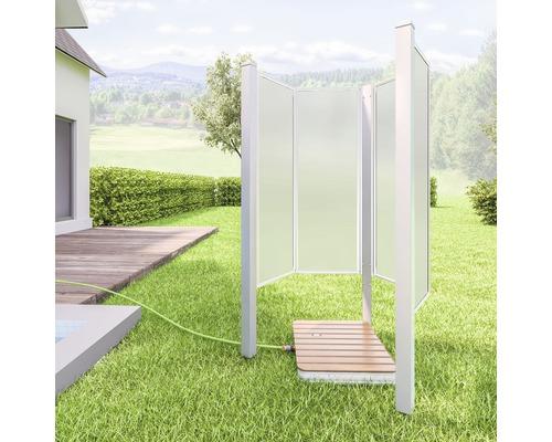 Douche de jardin Fara-O 85 x 100 cm type de verre satiné profilé de couleur chrome